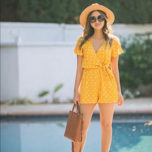 Everly Yellow Polka Dot Waist Knot Romper